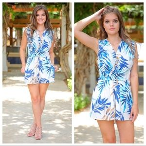 LAST ONE! Tropical Print Romper with Pockets